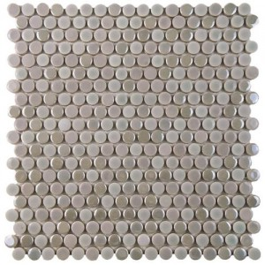 Galaxy Gray Penny Round Matte and Glossy Ash Porcelain Mosaic Tile