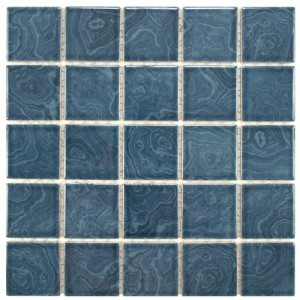 Spruce Glossy Square 12 in. x 12 in. x 5 mm Porcelain Floor and Wall Mosaic Tile