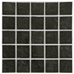 Charcoal Glossy Square 12 in. x 12 in. x 5 mm Porcelain Floor and Wall Mosaic Tile