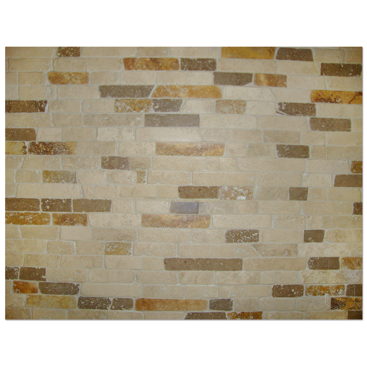12 X 12 Travertine Mix Brick Split Facetumbled Mesh Mounted Mosaic Tile